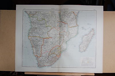 """1900 """"times""""  Large Antique Map - Africa South Of The Equator Madagascar"""