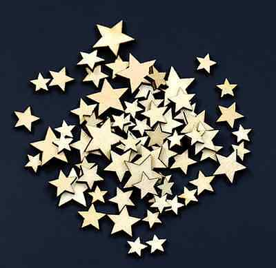 100pcs Rustic Star Shape Wooden Wood Piece Wedding Table Scatter Craft Decor UK