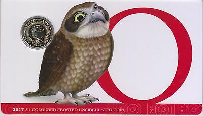 2017 Alphabet Coin Series - Owl - $1 Coloured Frosted Coin