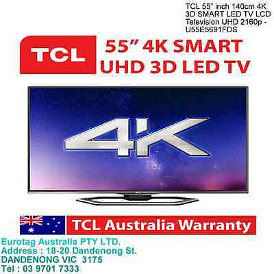 "TCL 55"" inch 140cm 4K 3D SMART LED TV LCD Television UHD 2160p - U55E5691FDS"