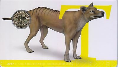 2017 Alphabet Coin Series - Tasmanian Tiger - $1 Coloured Frosted Coin
