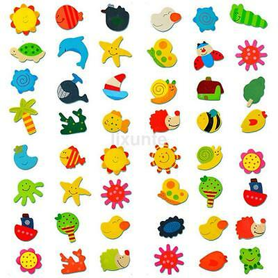 12pcs/Lot Mixed Style Cute Animal Tree Sun Wooden Fridge Magnet Sticker For Kids