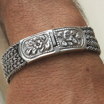 925 Solid Sterling Silver Mens Link Bracelet Heavy Wide Men Jewellery size in cm
