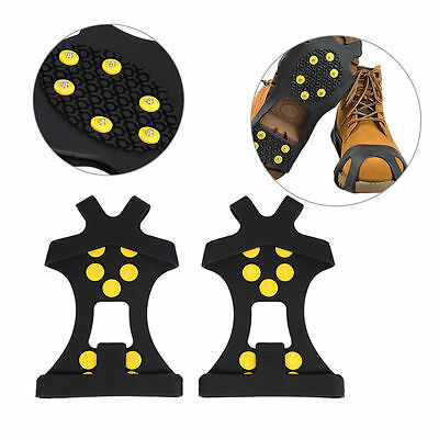 1pair 10-Stud Universal Ice No Slip Snow Shoe Spikes Grips Cleats High Quality