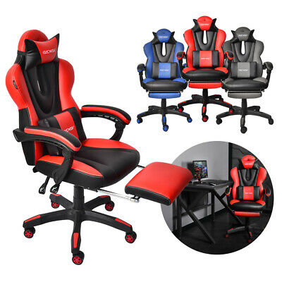 Ergonomic Computer Racing Gaming Chair Swivel Recliner Office Task Seat Footrest