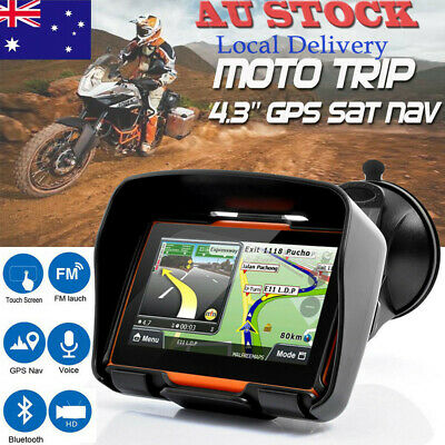 "4.3"" Waterproof Motorcycle Bike Car GPS Navigation SAT NAV Bluetooth 8GB Maps AU"
