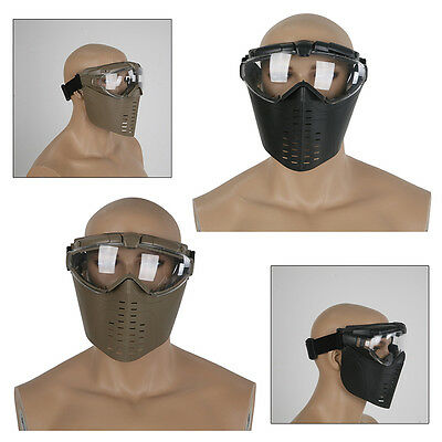 Tactical Airsoft Anti-fog Goggle Paintball Full Face Mask CS Protective with FAN