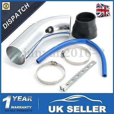 3''/ 75mm Universal Silver Car Cold Air Intake Induction Filter Pipe Hose Kit UK