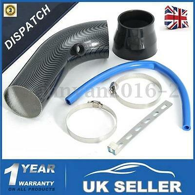 3''/ 75mm Universal Car Cold Air Intake Induction Pipe Filter Tube Kit Black UK