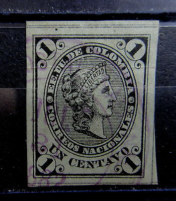 COLOMBIA 1881 1c Stamp - Used - NICE CANCEL - VF - r26b1592