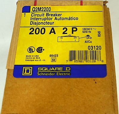 Square D Q2M2200 Circuit Breaker 200 A 2P 120/240V Schneider Electric NEW IN BOX