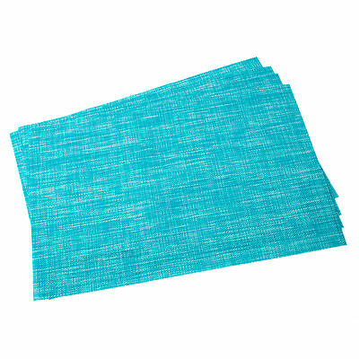 Set of 4 Woven Blue Mix Fabric Placemats Dining Room Table Place Settings Mats