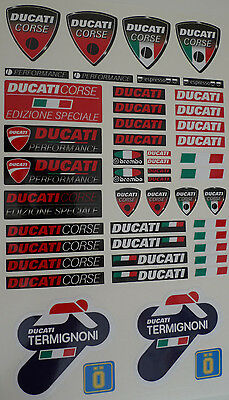 DUCATI corse and TERMIGNONI exhaust 48pcs laminated decals - stickers set sheet