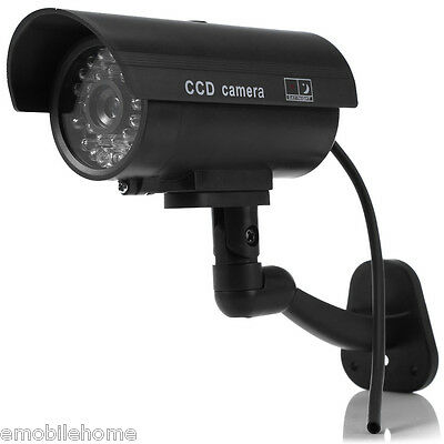 Dummy Camera CCTV Sticker Surveillance Rotating with Flashing Red LED Light
