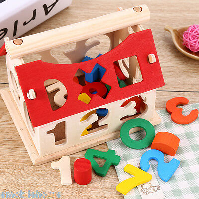 New Kid Wooden Number House Children Building Toy Educational Block Baby Digital
