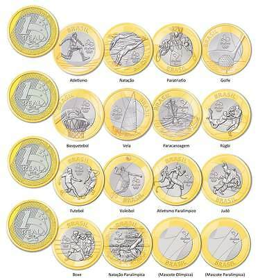 Brasil Set Of 16 Coins - 1 Real - Olympic Games 2016 Rio - Bu