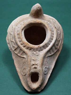 Ancient Oil Lamp Cross Signs Christian Byzantine 400-600 Ad