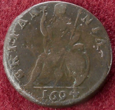 GB Farthing 1694 King William III and Mary (C2210)