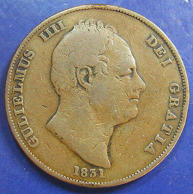 1831 W.W 1d William IV copper Penny - fair but Extremely Rare