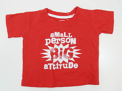 Baby Boy's Red T-Shirt With White Logo: Small Person Big Attitude 9-12 Months