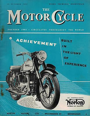 1953 15 OCT No 2636 51437 The Motor Cycle  Magazine Cover Advert  NORTON