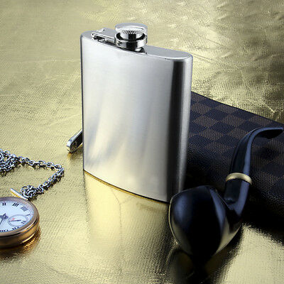 8 10 18 OZ Hip Flask Stainless Steel Whisky Liquor Alcohol Funnel Newly Boxed