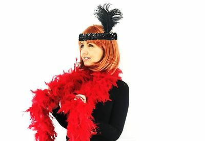 Flapper Lady Instant Kit Black Flapper Headband with Red Deluxe Feather Boa