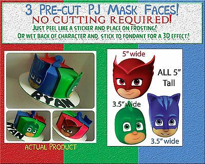 EDIBLE Cake Stickers! PJ Mask characters cut outs Sugar topper Faces paper heads