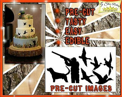 Duck Hunter EDIBLE Cake Stickers cut outs side of cake Sugar topper paper decals