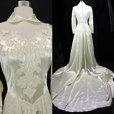 Vintage 30s 40s Ivory Satin Lace Detail Long Train WWII Wedding Gown Dress (S)