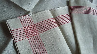 2x old unused linen kitchen Towels with red border