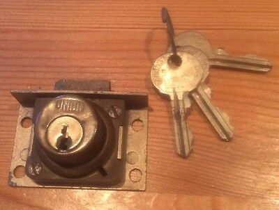 Vintage Union Brass Cupboard /cabinet  Door Lock With 3 Keys