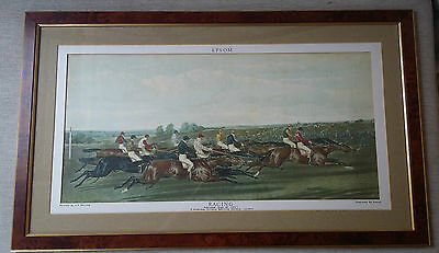 Racing After J F Herring Epsom Horse Race Engraving by Reeve Published 1841
