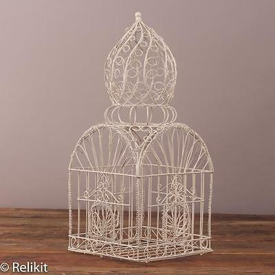 """Vintage Large White Domed Wire Bird Cage Decor 22"""""""