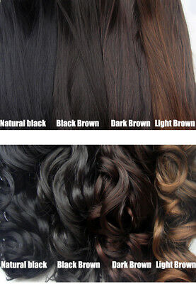 """Lot Full Head 24""""Clip in 100% Remy Real Human Hair Extensions Curly Straight"""