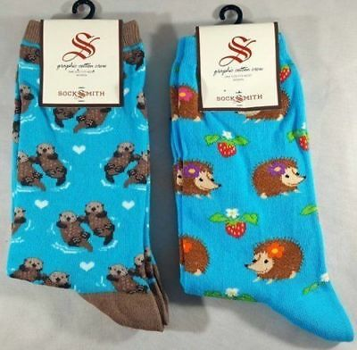 Socksmith Kritter Krazy Duo Bright Blue Hedgehogs, Bright Blue Significant Otter