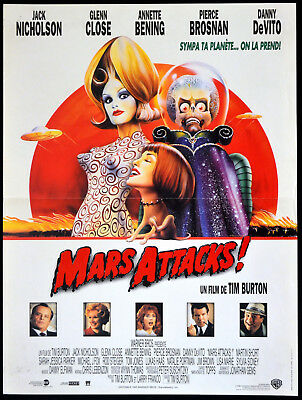 MARS ATTACKS 1996 Jack Nicholson Glenn Close Annette Bening FRENCH 16x21 POSTER