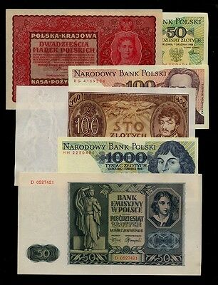 LOT of 6 BANKNOTES POLAND - 1919-88 - Portraits and Landmarks - Crisp AU to UNC