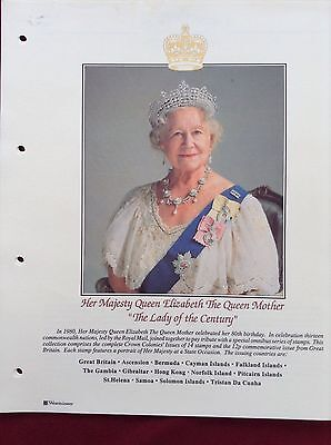 QUEEN MOTHER 80th Birthday Commonwealth Limited Postage Stamp Issue 15 stamps