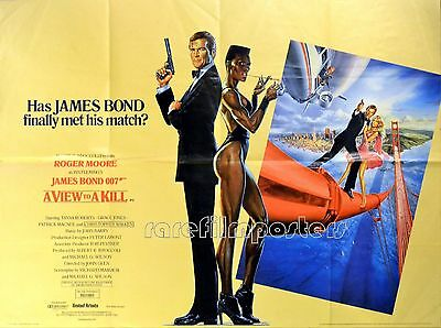 VIEW TO A KILL 1985 Roger Moore Christopher Walken JAMES BOND UK QUAD POSTER