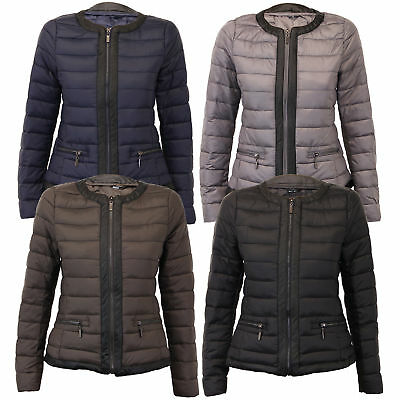 ladies padded jacket womens coat quilted puffer pu pvc crew neck lined winter