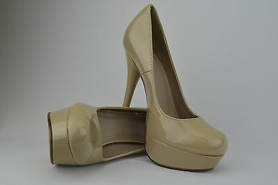 New Womens Beige Patent Leather Platform Stiletto High Heel Round Toe Pumps