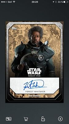 Topps Star Wars CARD Trader Digital card Forest Whitaker (Sam Gerrera) Autograph