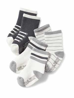 NWT BABY Old Navy Non-Skid Crew Socks 3-Pack SET SIZE:0-3/3-6/6-12/12-18 MONTH