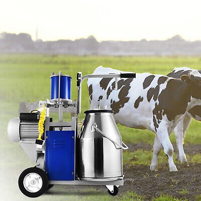 Electric Milking Machine For Farm Cows W/Bucket Automatic Vacuum Pump Sheep