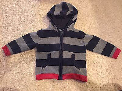 Baby Gap Gray Navy Striped Hooded Lined Zip Up Sweater Size 2T 2
