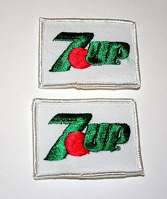 2 Small 7up 7 UP uncola Soda White Cloth Patch 1980s NOS New for Hat or Jacket