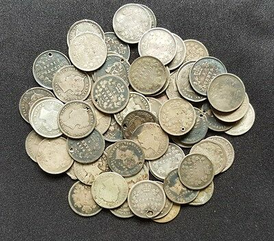 1800s Canada Silver CULL Coins with Dates / Over 115 Years Old! / 5 Cent Nickel
