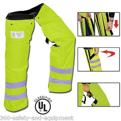Chainsaw Safety Protective Chaps Hi-Vis Green All New Zipper Style Chainsaw Chap
