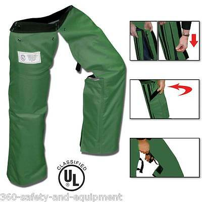 Chainsaw Safety Protective Chaps Forest Green All New Zipper Style Chainsaw Chap